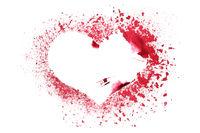 Grunge stencil red heart