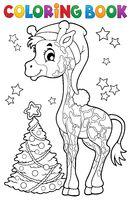 Coloring book Christmas giraffe
