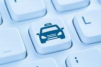 Taxi online buchen bestellen Internet blau Computer Tastatur
