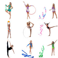 Set collection of junior gymnast girl on white
