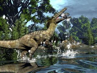 Austroraptor dinosaur fishing -3D render