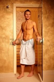 Sporty handsome man at sauna