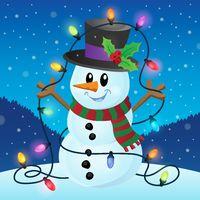 Snowman with Christmas lights image 2