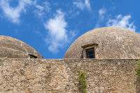 old weathered domes of an old greek castle