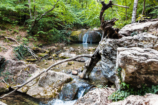 rapids on Ulu-Uzen river in Haphal Gorge in Crimea