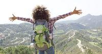 Expressive happy traveler