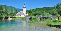 at Lake Bohinj with Church called Sveti Janez,Triglav National Park,Slovenia