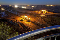 view from skywalk to brown coal surface mining in the evening, Garzweiler, Germany, Europe