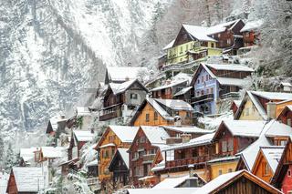 Wooden houses in Hallstatt, austrian alpine town by Salzburg, Austria