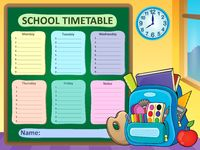 Weekly school timetable composition 6 - picture illustration.