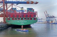 Container ship Hamburg harbor, Container terminal Eurogate, Hamburg, Germany, Europe