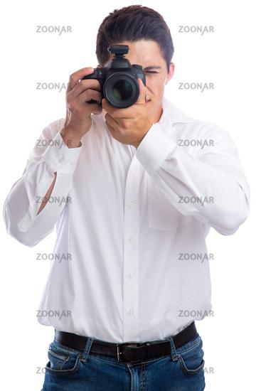 Fotograf Fotografie fotografieren Beruf mit Kamera Freisteller