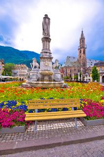 Bolzano main square and cathedral view