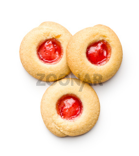 Chip cookies with jam.