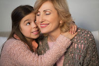Little cute girl and her grandmother