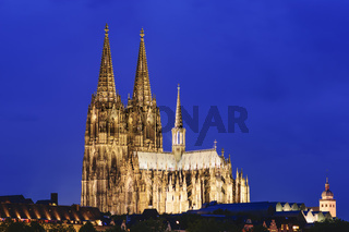 Illuminated cathedral Cologne