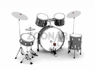 Schlagzeug Schwarz Silber - freigestellt 02
