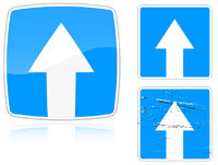 Variants a Road with one-way traffic - road sign