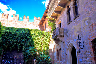 Patio and balcony of Romeo and Juliet house in Verona