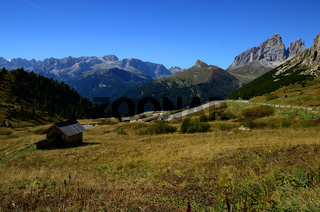 Pordoijoch in den Dolomiten, Suedtirol, Italien
