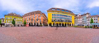 Bolzano main square Waltherplatz panoramic view