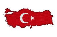 Karte und Fahne der Türkei auf altem Leinen - Map and flag of Turkey on old linen