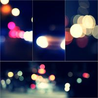 Night city street lights bokeh background collage of toned images