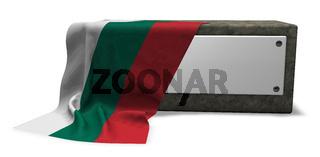 steinsockel mit leerem schild und fahne von bulgarien - 3d rendering