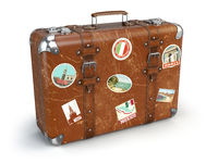 Retro suitcase baggage with travel stickers isolated on white background.
