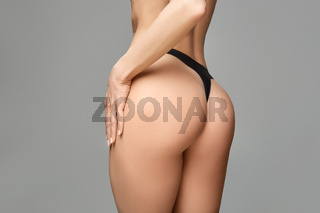 beautiful girl butt on in black panties