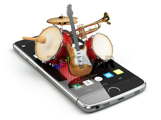Mobile phone and musical instruments. Guitar, drums and trumpet. Digital music composer app.