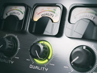 Best quality concept. Quality control switch knob on maximum position.