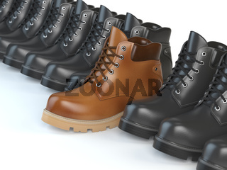 One unique brown boot in the row of black boots. Marketing concept. Choosing the style, Think different.