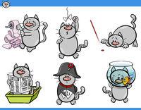 cat humor characters set