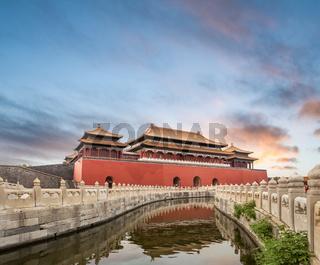 beijing forbidden city in sunset