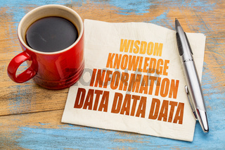 data, information, knowledge and wisdom