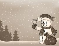 Stylized image with Christmas snowman