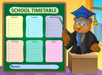 Weekly school timetable topic 8 - picture illustration.