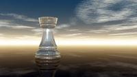 schachturm aus glas unter wolkenhimmel - 3d illustration