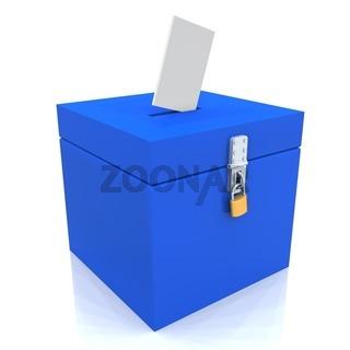 3D - Blanko Wahlurne Blau 01 - Abgeschlossen