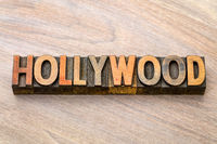 Hollywood word abstract  in wood type