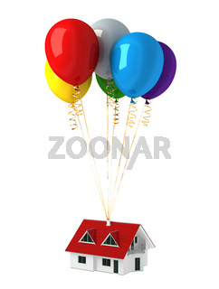 Group of multicolor balloons, lifting up a house.