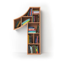 Number 1 one. Alphabet in the form of shelves with books isolated on white.