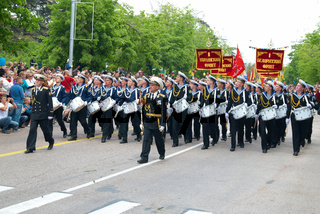 Navy musicians at russian parade May 9, 2010 in Sevastopol