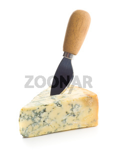 Tasty blue cheese with knife.