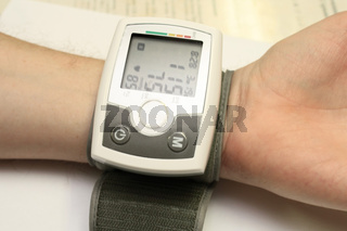 View on blood pressure in the mode of pressure measurement.