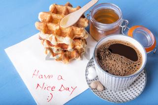 Tasty breakfast and napkin message