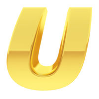 Gold alphabet symbol letter U with gradient reflections isolated on white. High resolution 3D image