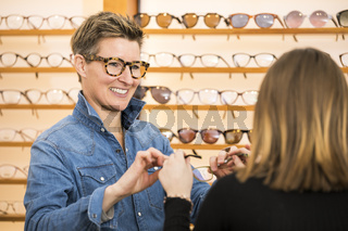 woman in a eyewear store