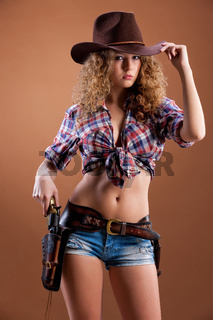 Young Beautiful Woman Dressed In Western Style